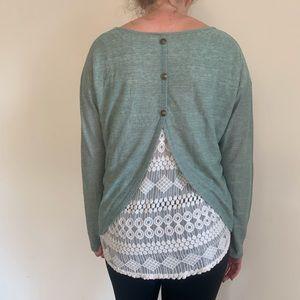 Peekaboo lace backed blouse